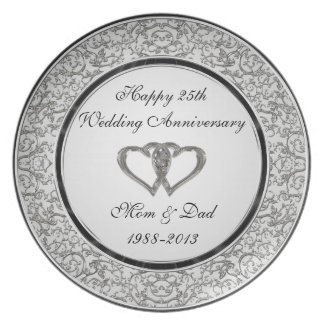 25th Wedding Anniversary Plate