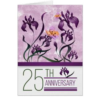 25th Wedding Anniversary Purple Iris Garden Card