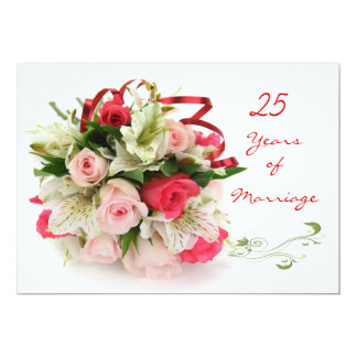 """25th Wedding Anniversary.  Roses and lilies 5"""" X 7"""" Invitation Card"""