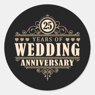 25th Wedding Anniversary Round Sticker