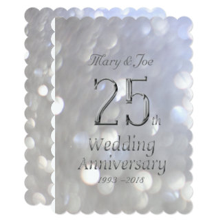 25th Wedding Anniversary Silver Bokeh Typography Card