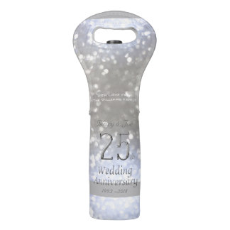 25th Wedding Anniversary Silver Bokeh Typography Wine Bag