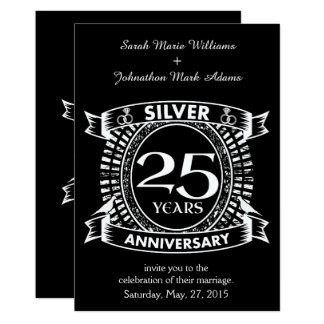 25th wedding anniversary silver crest card