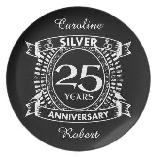 25th wedding anniversary silver crest plate