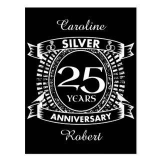 25th wedding anniversary silver crest postcard