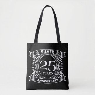 25th wedding anniversary silver crest tote bag