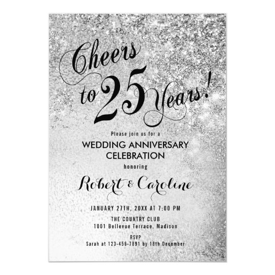 25th Wedding Anniversary Silver Invitation