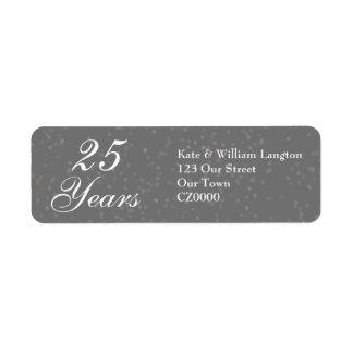 25th Wedding Anniversary Silver Stardust Confetti Return Address Label