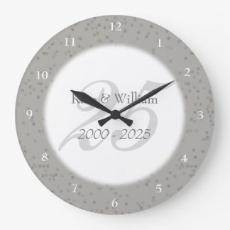 25th Wedding Anniversary Silver Stardust Confetti Wallclock
