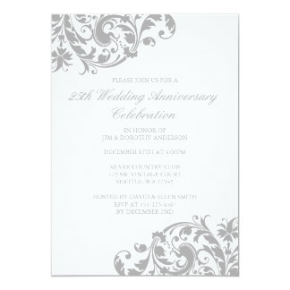 25th Wedding Anniversary Silver Swirl Flourish Card