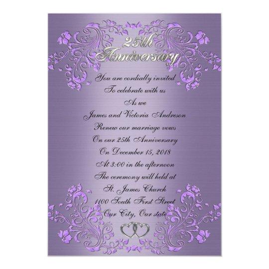 25th Wedding anniversary vow renewal Lavender Card