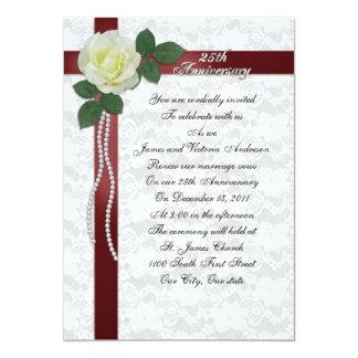 25th Wedding anniversary vow renewal White rose Card