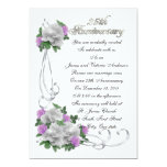 25th Wedding anniversary vow renewal White roses Personalized Announcement