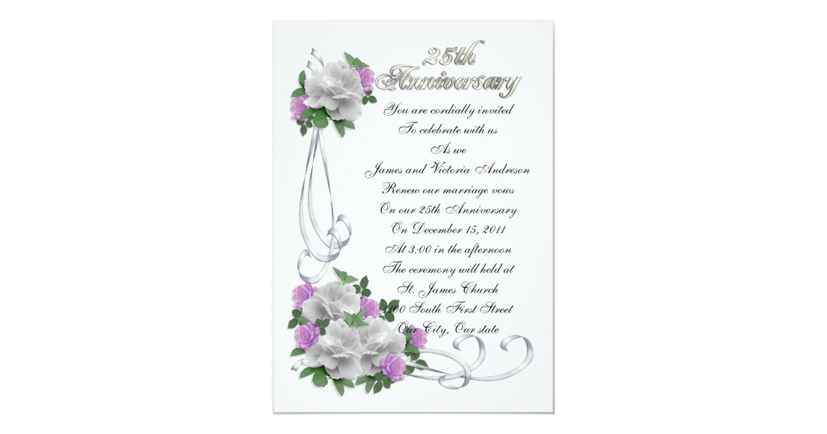 25th Wedding anniversary vow renewal White roses