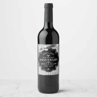 25th Wedding Anniversary White Diamonds & Black Wine Label