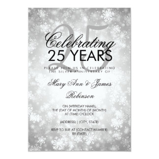 25th Wedding Anniversary Winter Wonderland Silver Card