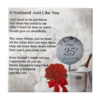 25th wedding husband poem tile