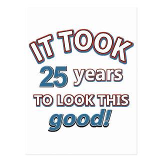 25th year birthday designs postcard