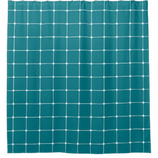 260216 Grid v2 - White on Biscay Bay Shower Curtain