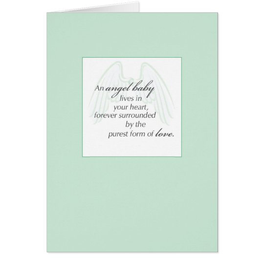 2653 Angel Baby Wings Green, Sympathy Card