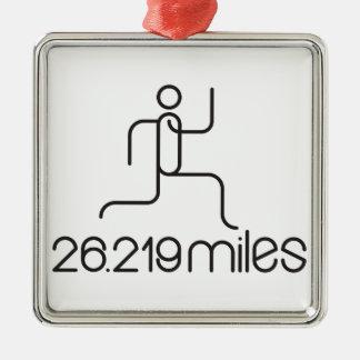 26.219 miles marathon distance metal ornament