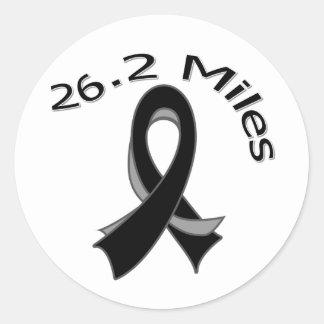 26.2 Miles Marathon Ribbon Skin Cancer Round Sticker
