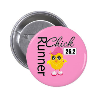 26.2 Miles Marathon Runner Chick 6 Cm Round Badge