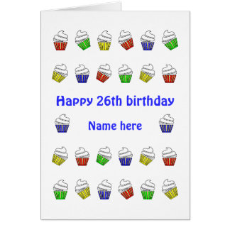 26th birthday personalized cupcakes card