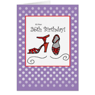 26th Birthday Red Shoes Card