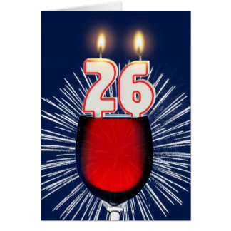 26th Birthday with wine and candles Card