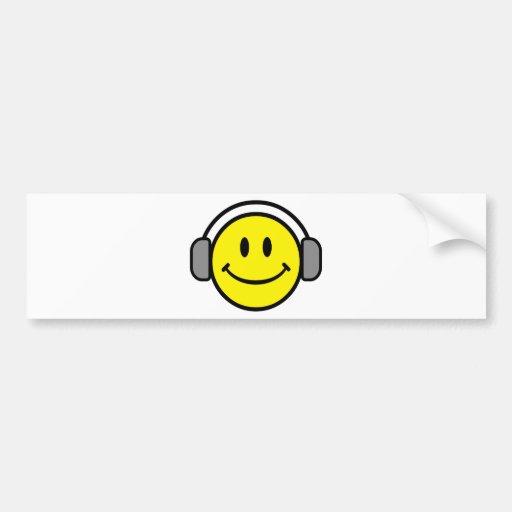 2700-Royalty-Free-Emoticon-With-Headphones EMOTICO Bumper Stickers