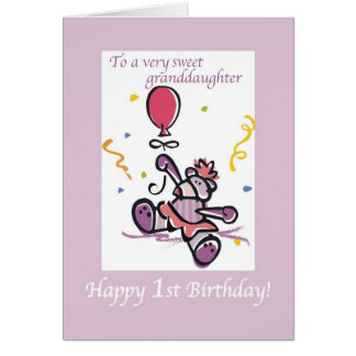 2709 First Birthday Granddaughter Bear Card