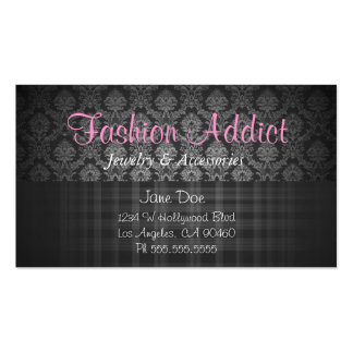 278 - Damask Plaid Pink Business Card Template