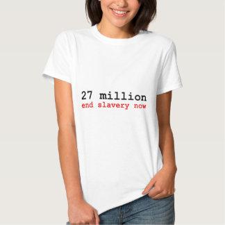 27 million end slavery now tshirt