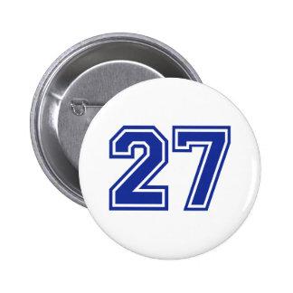 27 - number 6 cm round badge