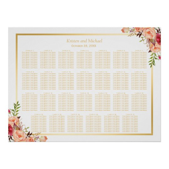 27 Tables Rustic Flowers Wedding Seating Chart Poster