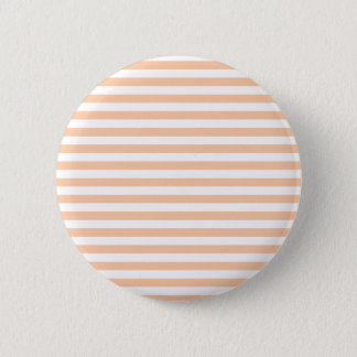 27 - Thin Stripes - White and Deep Peach 6 Cm Round Badge