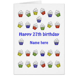 27th birthday cupcakes personalized name card