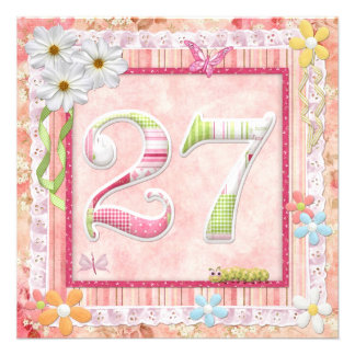 27th birthday party scrapbooking style custom invites