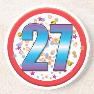 27th Birthday v2 Beverage Coasters
