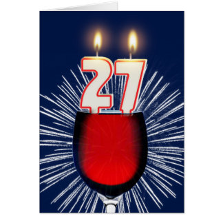 27th Birthday with wine and candles Card