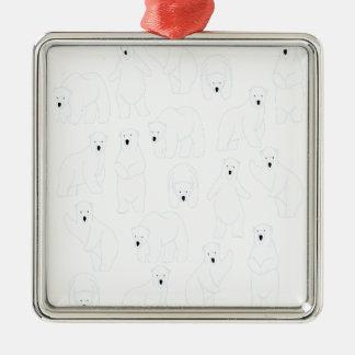 27th February - Polar Bear Day Silver-Colored Square Decoration