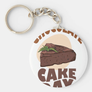 27th January - Chocolate Cake Day Basic Round Button Key Ring