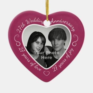 27th Wedding Anniversary Photo Ceramic Heart Decoration