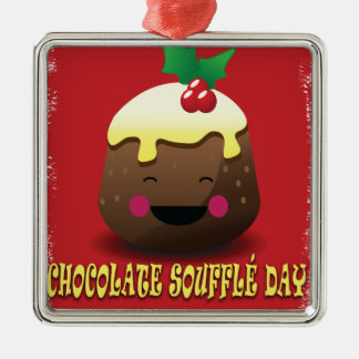 28th February - Chocolate Souffle Day Silver-Colored Square Decoration