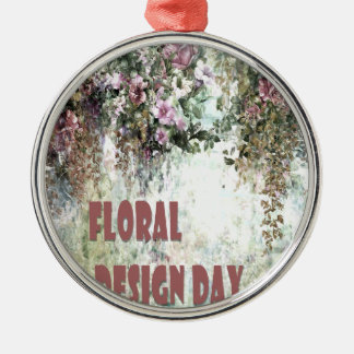 28th February - Floral Design Day Silver-Colored Round Decoration