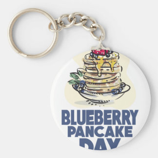 28th January - Blueberry Pancake Day Basic Round Button Key Ring