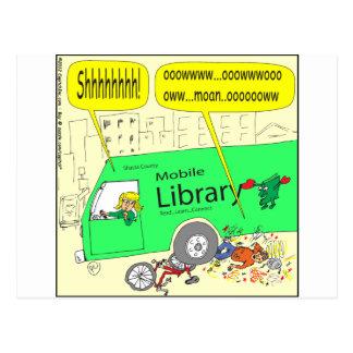 297 mobile library cartoon postcards