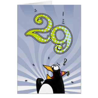 29th Birthday - Penguin Surprise Card
