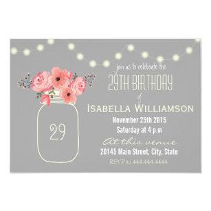 29th Birthday Pink Watercolor Flowers Mason Jar Invitation